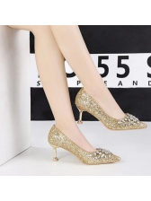 Night Club Diamond Sequined Pointed Pumps