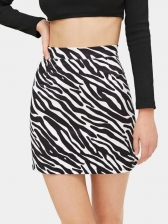 Hot Sale Zebra Print Black Mini Skirt