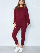 Sporty Striped Solid Color Woman Tracksuits