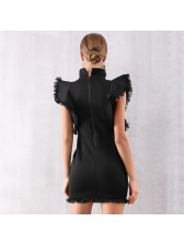 Ruffled Tassels Stand Collar Boutique Solid Dress