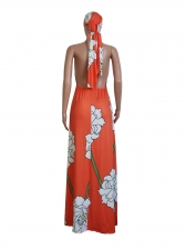 Backless Flower Print Sexy Spring Maxi Dress