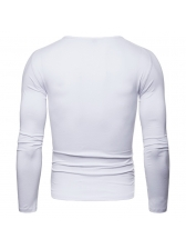 Letter Crew Neck Solid Fitted Long Sleeve T-shirt