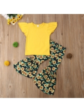 Summer Yellow Floral Baby Girl Outfits