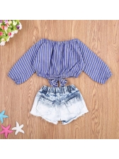 Striped Embroidery Cropped Baby Girl Outfits