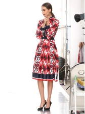 Printed Bow Contrast Color Long Sleeve Dress