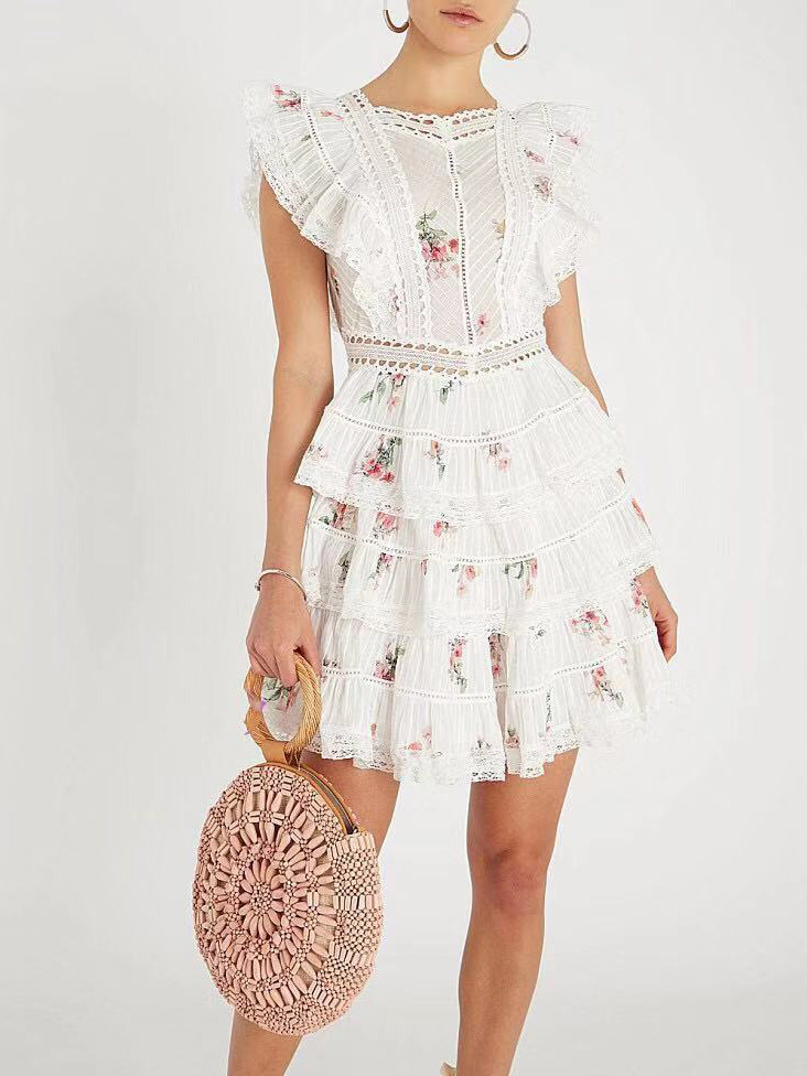 Embroidered Ruffle Tiered Lace Dress