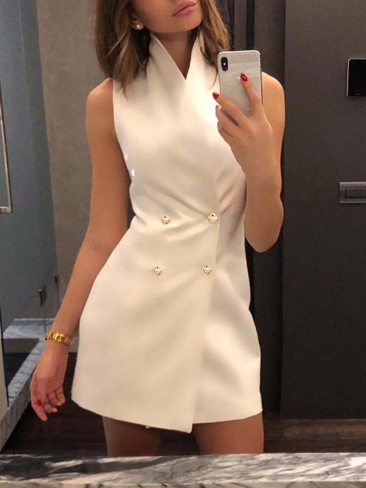 Fashion Sleeveless Button Up Double-Breasted Short Dresses