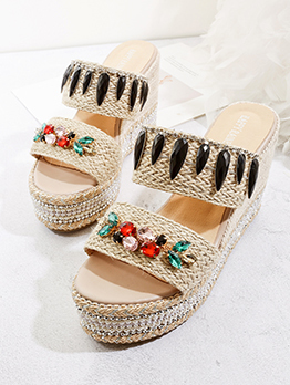 Bohemian Weave Colorful Diamond Wedges Slippers