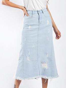 Fashion High Waisted Ripped Denim Midi Skirt