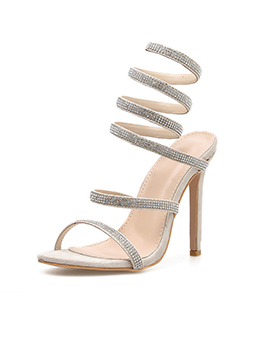 Stylish Faux Diamond Thin Heel Strappy Tan Sandals