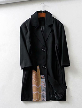 Euro Patchwork Buttons Black Long Blazers