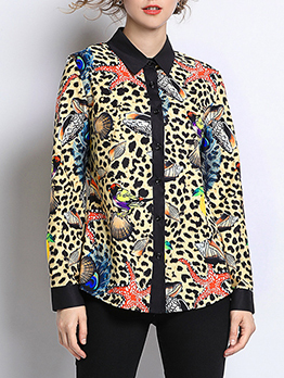 Euro Printed Patchwork Button Up Blouse
