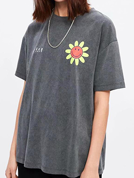 Crew Neck Smile Flowers Printed Short Sleeve Tee