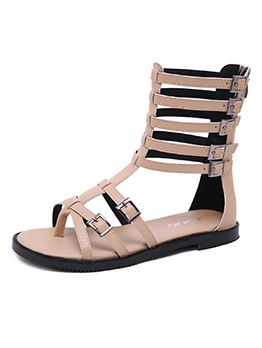 Spring Hollow Out Pu High Top Sandals For Women
