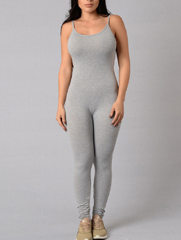Simple Design Crew Neck Fitted Strap Jumpsuit