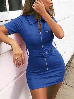 Turndown Neck Tie-Wrap Bandage Dresses