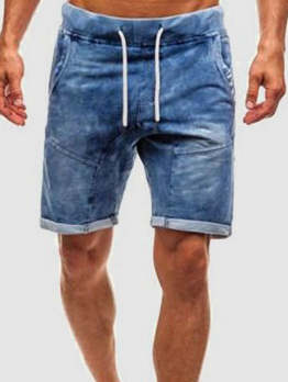 Fashion Drawstring Faded Denim Shorts For Mens