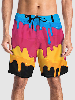 Characteristic Splash Ink Print Beach Pants Men