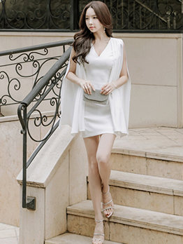Fashion Ladies V Neck White Dress