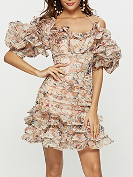 Boutique Boat Neck Ruffled Floral Bodycon Dress