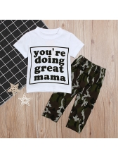 Letter Printed Tee With Camouflage Pants For Kids