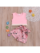Tassels Solid Vest With Flower Printed Shorts For Girl