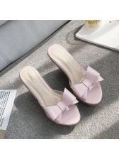 Matching Bow Outdoors Clear Wedges Slippers