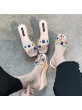 Fashionable Colorful Rivet PVC Wedges Slippers
