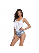 Summer Ruffles Binding Printing Swimsuits