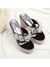 Summer Pearl Flip Flop Wedges Slippers