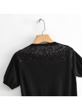 Simple Design Sequined Knitting Womens T-Shirt