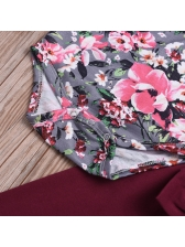Floral Bow Crew Neck Baby Girl Outfits
