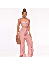 Solid Crop Camisole With Ruffled Palazzo Pants