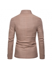Fitted Single-Breasted Long Sleeve Man Blazer
