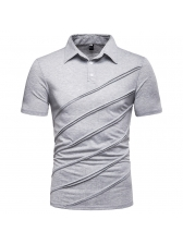 Solid Pleated Turndown Neck Casual Polo Shirts