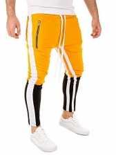Contrast Color Fitted Drawstring Man Sport Pants