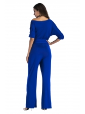 Classic Inclined Shoulder Solid Drawstring Jumpsuit