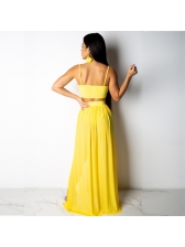 Chiffon V Neck Crop Camisole With Split Hem Maxi Skirt