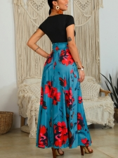 Contrast Color Crew Neck Flower Maxi Dresses