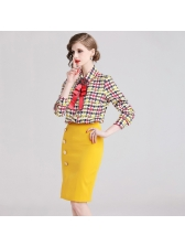 Fashionable Houndstooth Yellow Blouse With Tie