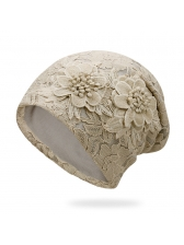 Solid Lace Cozy Stereo Flower Beanie