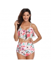 Hot Sale Printed Ruffed Straps 2 Piece Swimsuit