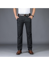 Solid Business Straight Cozy Long Denim Pants