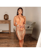 Night Club Low-Cut Backless Sequined Bandage Dresses