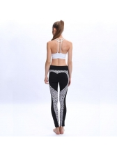 Fashionable Leopard Printed Heart Black Pants