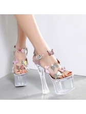 Stylish Butterflies Ankle Straps Platform Clear Sandals