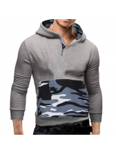 Fashion Camouflage Patchwork Long Sleeve Hoodies