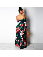 Boat Neck Backless Flower Split Maxi Dresses