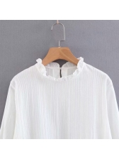 Simple Design Stringy Selvedge Flare Sleeve White Blouse