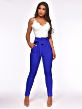 Casual Tie-Wrap Solid Pencil Pants